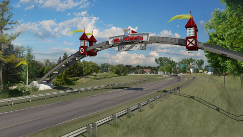 "WAK has been working with the City of Frankenmuth to develop a gateway arch being planned as an ""iconic"" entry to the city. BIM was used to orient the structure to the existing topography & site constraints, and to provide drawings and renderings of the design development progress for the city to use to gain public support and funding."