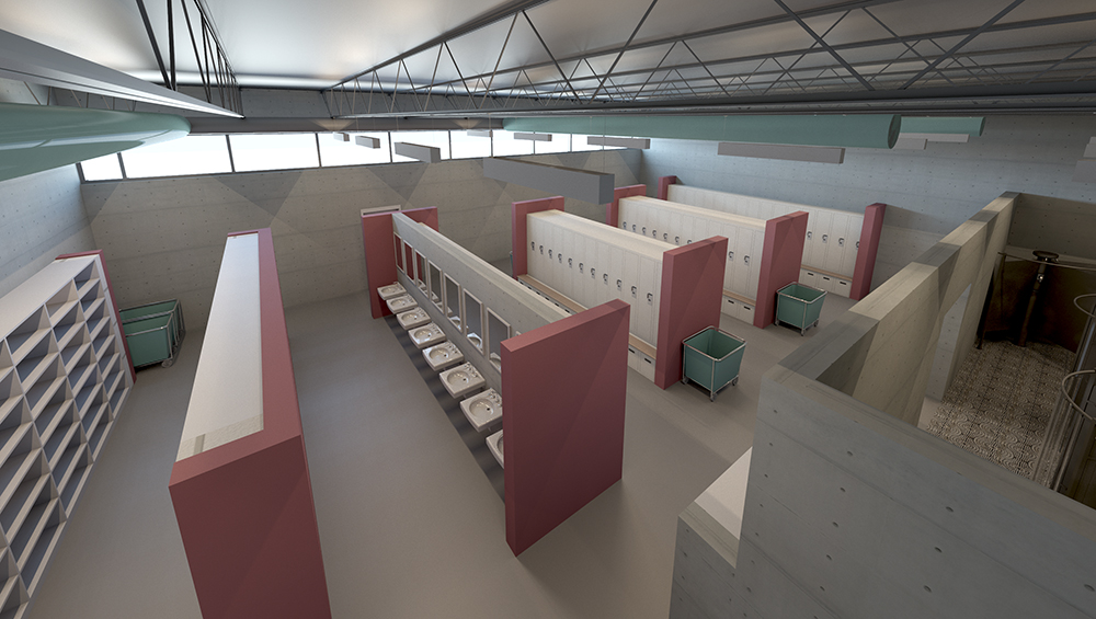 Rendering of interior locker room facility. Image © William A. Kibbe and Associates, Inc.
