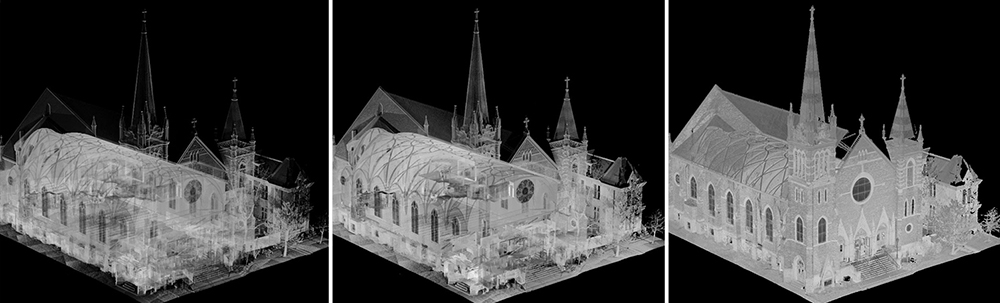 Laser scan imagery depicting different levels of building transparency. Cathedral of Mary of the Assumption, Saginaw, Michigan. Image © William A. Kibbe and Associates, Inc.